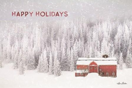 Snowy Forest Happy Holidays by Lori Deiter art print