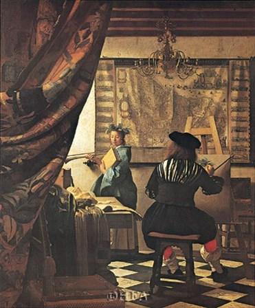 Artist's Studio by Johannes Vermeer art print