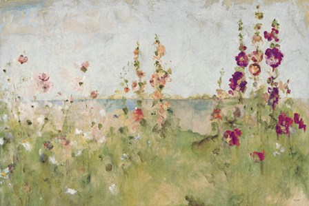 Hollyhocks by the Sea by Cheri Blum art print