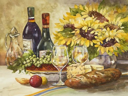 Wine & Sunflowers by Jerianne Van Dijk art print