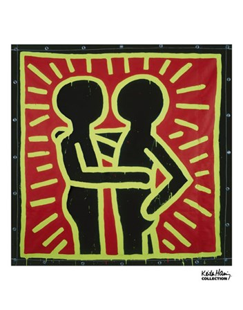 Untitled, 1982 (couple in black, red, and green) by Keith Haring art print