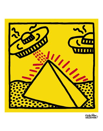 Untitled, 1984 (pyramid with UFOs) by Keith Haring art print