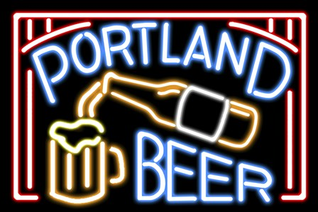 Portland Beer Fluorescent Sign by Lantern Press art print