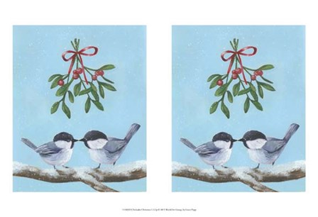 Chickadee Christmas I 2-Up by Grace Popp art print