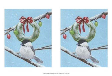 Chickadee Christmas III 2-Up by Grace Popp art print