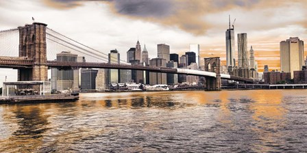 Brooklyn Bridge and Lower Manhattan at sunset, NYC by Pangea Images art print